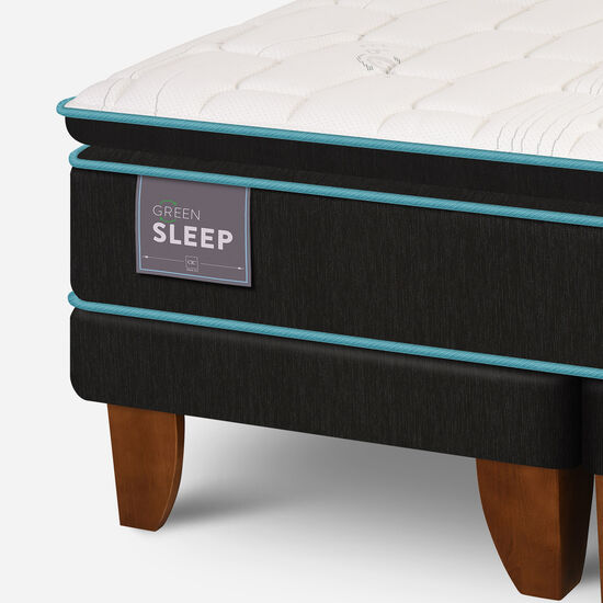Cama Europea King Green Sleep Base Dividida + Respaldo Torino Choc
