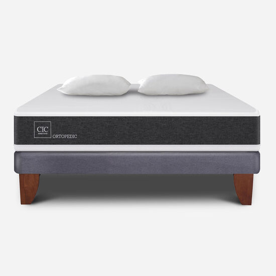 Cama Europea 2 Plazas Ortopedic Base Normal + Almohadas
