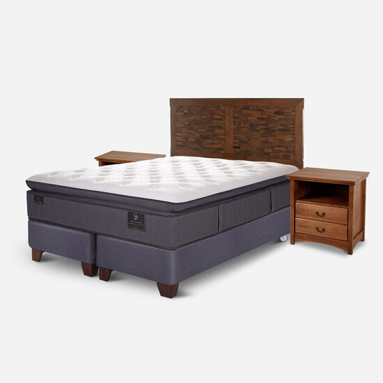 Box Spring 2 Plazas Grand Premium Base Dividida + Set Antique