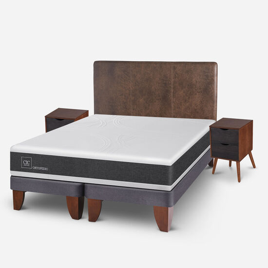 Cama Europea 2 Plazas Ortopedic Base Dividida + Set Baker