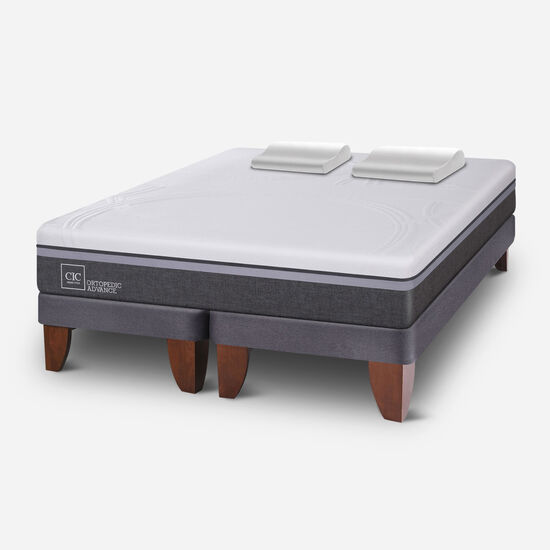 Cama Europea 2 Plazas Ortopedic Advance Base Dividida + Almohadas Viscoelásticas