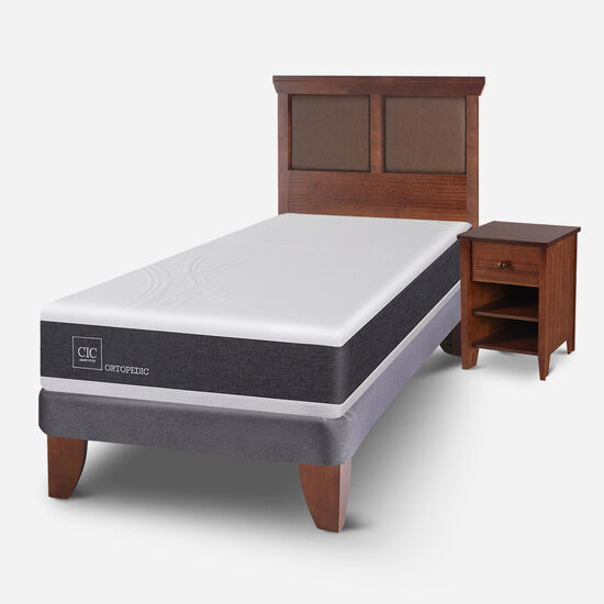 Cama Europea 1.5 Plazas Ortopedic + Set Torino Caramel