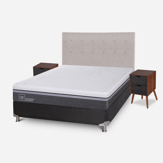 Box Spring 2 Plazas Ortopedic Advance Base Normal 5 Zonas + Set Tigris