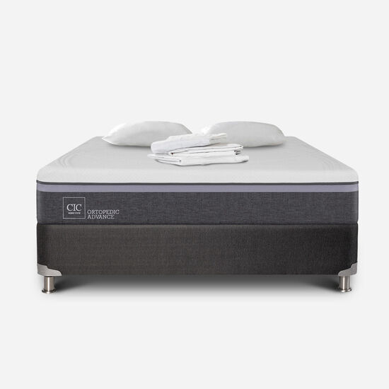 Box Spring 2 Plazas Ortopedic Advance Base Normal 5 Zonas + Sábanas + Almohadas