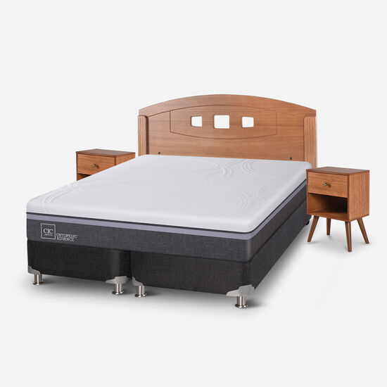 Box Spring 2 Plazas Ortopedic Advance Base Dividida 5 Zonas + Set Gales