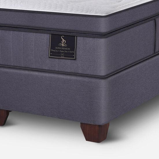 Box Spring King Super Premium + Almohadas Viscoelásticas + Plumón