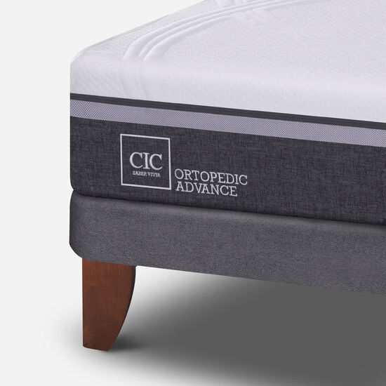Cama Europea 2 Plazas Ortopedic Advance Base Normal + Respaldo Tigris