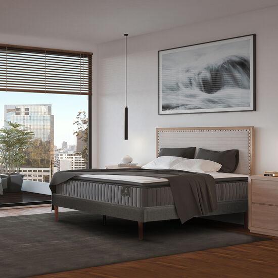 Cama Europea Curve 2 Plazas Premium + Set New Torino Choc