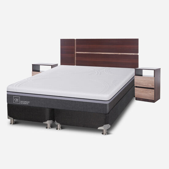 Box Spring 2 Plazas Ortopedic Advance Base Dividida 5 Zonas + Set Enio