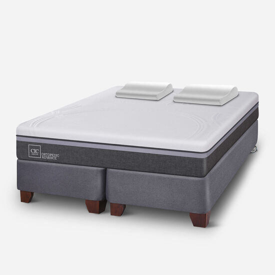 Box Spring 2 Plazas Ortopedic Advance Base Dividida + Almohadas Viscoelásticas
