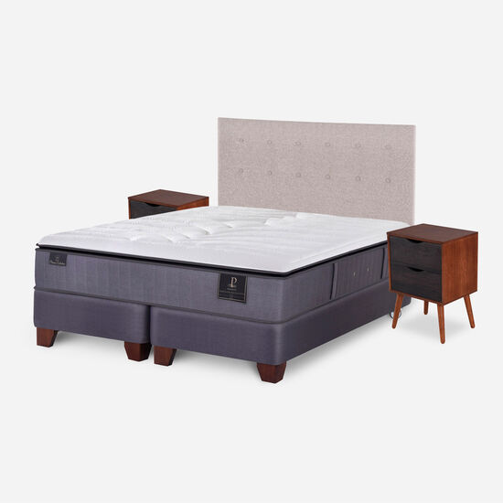 Box Spring 2 Plazas Premium Base Dividida + Set Tigris
