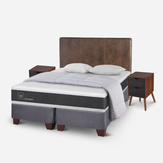 Box Spring King Ortopedic + Almohadas + Plumón + Set Baker