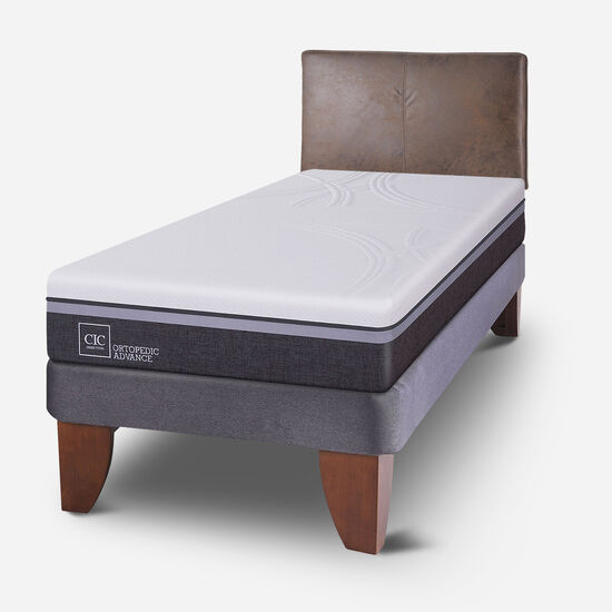 Cama Europea 1.5 Plazas Ortopedic Advance + Respaldo Baker