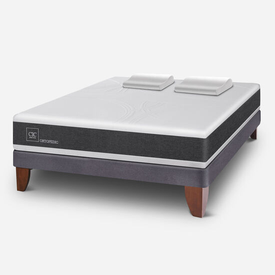 Cama Europea 2 Plazas Ortopedic Base Normal + Almohadas Viscoelásticas