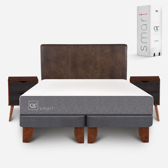Cama Europea 2 Plazas Smart Base Dividida + Set Baker