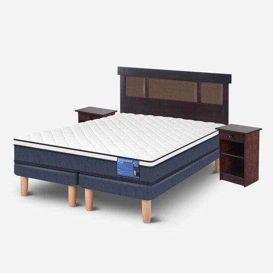 Cama Europea 2 Plazas Excellence Plus Base Dividida + Set Dublín Choc