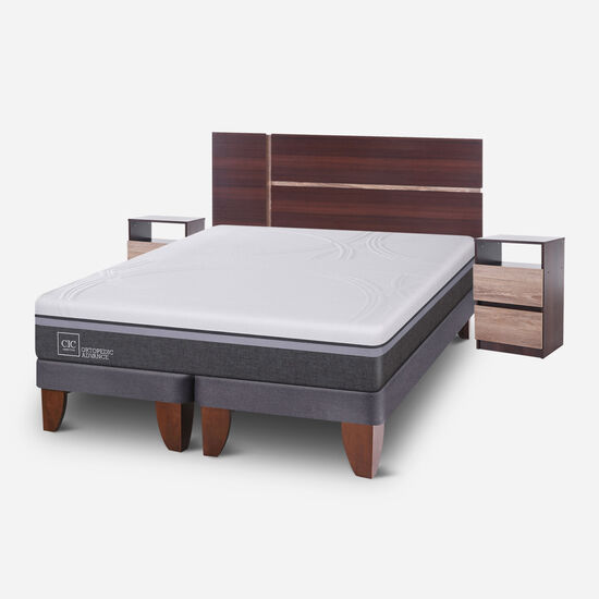 Cama Europea 2 Plazas Ortopedic Advance Base Dividida + Set Enio