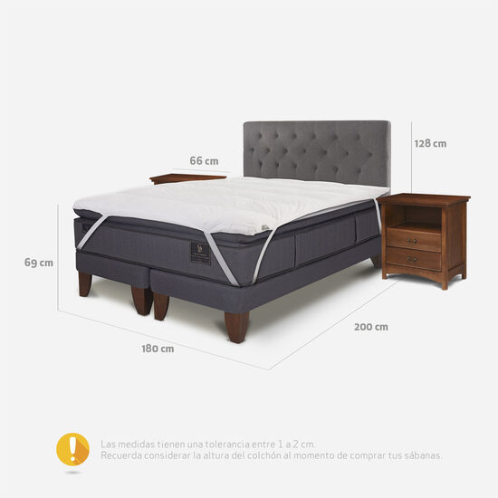 Cama Europea King Grand Premium + Set Kavery + Topper