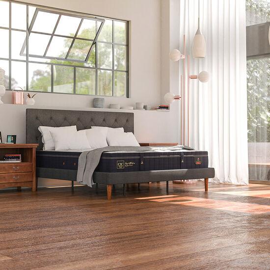 Cama Europea Curve 2 Plazas Super Premium + Respaldo New Torino Caramel