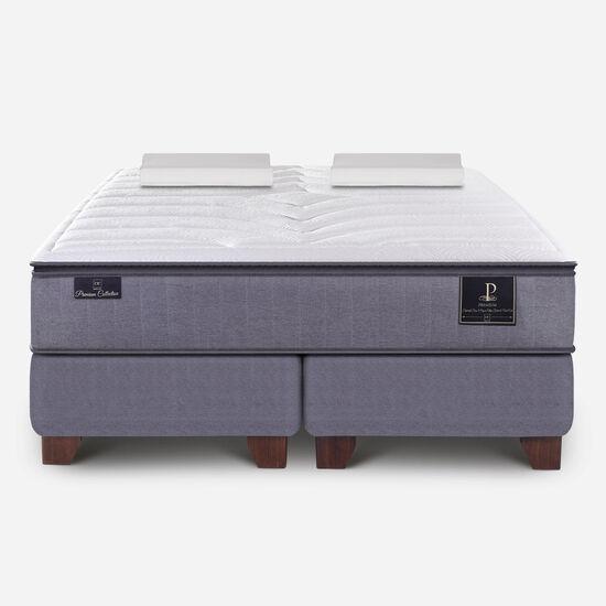 Box Spring 2 Plazas Premium Base Dividida + Almohadas Viscoelásticas