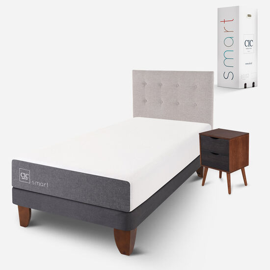 Cama Europea 1.5 Plazas Smart + Set Tigris