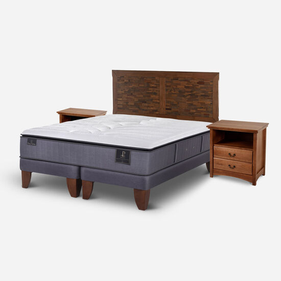 Cama Europea 2 Plazas Premium Base Dividida + Set Antique