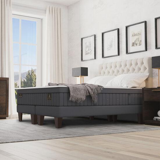 Cama Europea King Super Premium + Set Miró + Almohadas de Pluma