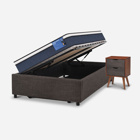 Cama Space Box 1,5 Plazas Excellence Plus + Velador Níger