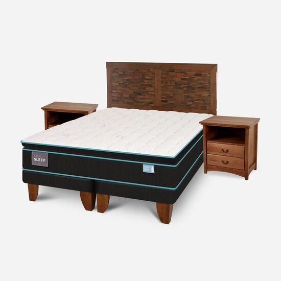 Cama Europea King Green Sleep Base Dividida + Set Antique