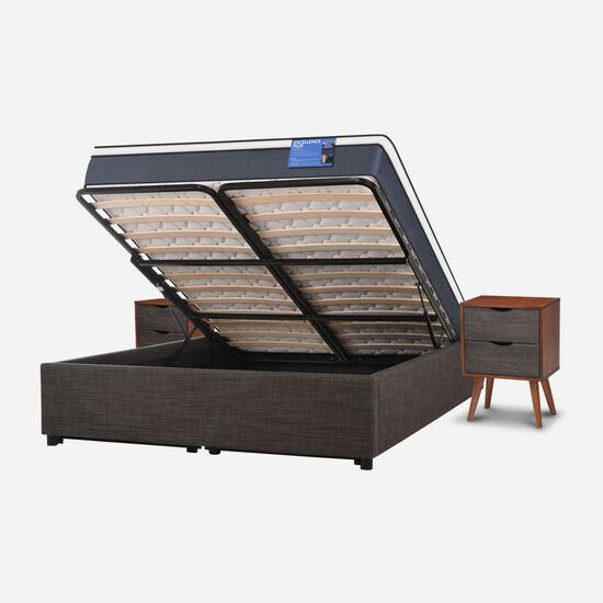 Cama Space Box 2 Plazas Excellence Plus + Velador Níger