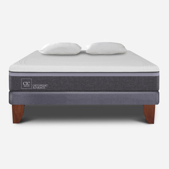 Cama Europea 2 Plazas Ortopedic Advance Base Normal + Almohadas
