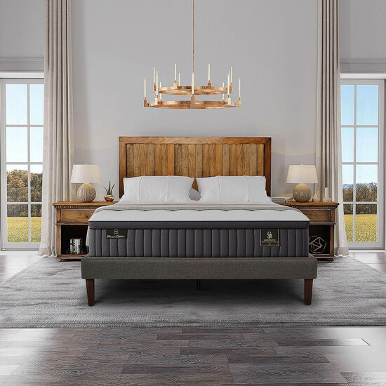 Cama Europea King Grand Premium + Set Kavery + Almohadas Pluma de Ganso