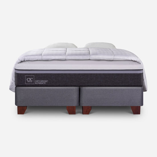 Box Spring King Ortopedic Advance + Almohadas + Plumón