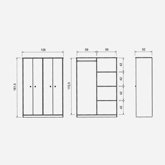Clóset 4 Puertas Blanco Lucerna