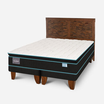 Cama Europea King Green Sleep Base Dividida + Respaldo Antique