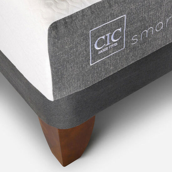 Cama Europea 2 Plazas Smart Base Normal + Set Torino Choc