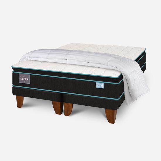 Cama Europea King Green Sleep Base Dividida + Plumón
