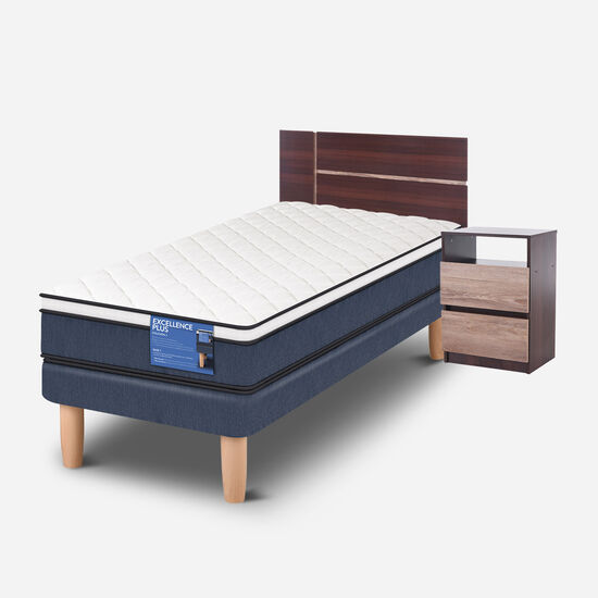 Cama Europea 1 Plaza Excellence Plus + Set Enio