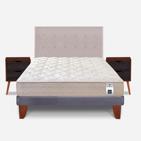 Cama Europea 2 Plazas Balance 1 Base Normal + Set Tigris