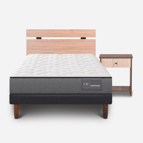 Cama Europea 1.5 Plazas Anatomic + Set Olmo