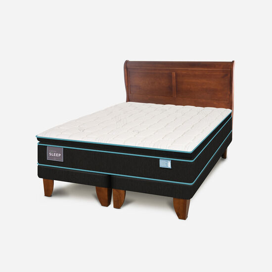 Cama Europea King Green Sleep + Respaldo Miró