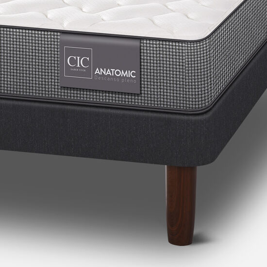 Cama Europea 2 Plazas Anatomic Base Normal + Set Legno