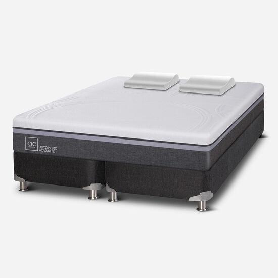 Box Spring 2 Plazas Ortopedic Advance Base Dividida 5 Zonas + Almohadas Viscoelásticas