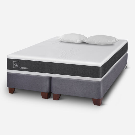 Box Spring King Ortopedic + Almohadas