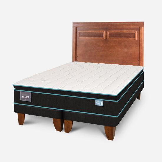 Cama Europea King Green Sleep Base Dividida + Respaldo Milán