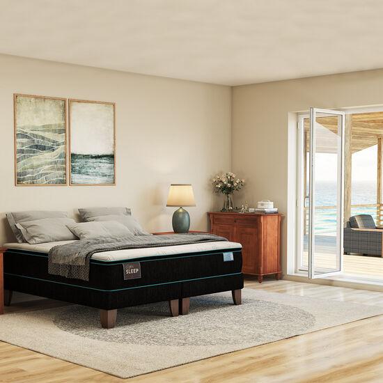 Cama Europea King Green Sleep Base Dividida + Set Torino Caramel