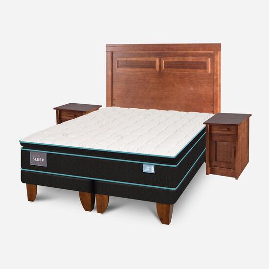 Cama Europea King Green Sleep Base Dividida + Set Milán