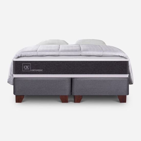 Box Spring King Ortopedic + Almohadas + Plumón