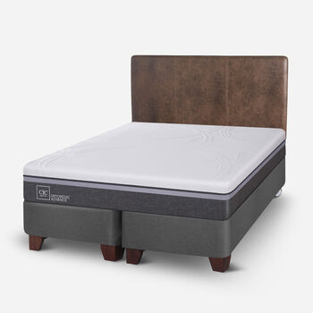 Box Spring 2 Plazas Ortopedic Advance Base Dividida + Respaldo Baker