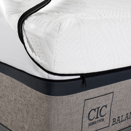 Cama Europea 2 Plazas Balance Base Dividida + Respaldo Antique